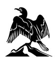 abstract cormorant in black and white vector image vector image