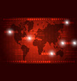abstract world map in red technology design vector image