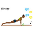 african american fitness girl and chat on laptop vector image vector image