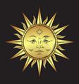 antique style gold sun hand drawn line art boho vector image vector image