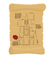 Berne Cathedral on old paper Scheme Ancient scroll vector image vector image