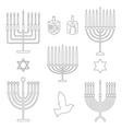 black outline hanukkah and dreidel digital vector image vector image