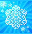 Blue paper snowflake on striped background vector image