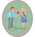 Boy girl and a lollipop look like heart shape