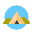 camp tent icon summer adventure and travel concept vector image