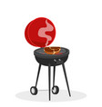 cartoon barbecue grill with hot coals juicy ready vector image vector image