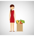 cartoon girl red dress grocery bag vegetables
