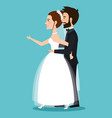 character bride and groom newlyweds holding hands vector image