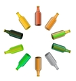 Colored Glass Beer Bottles Set vector image