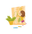 cute little girl drawing on the wall hoodlum vector image vector image