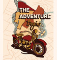 cute vintage sticker with motorcycle with map vector image