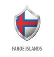 faroe islands flag on metal shiny shield vector image vector image