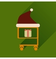 flat icon with long shadow cart with Christmas vector image vector image