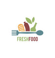 fresh food logo template organic food logo vector image vector image