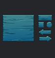 game ui kit template blue wooden menu vector image vector image