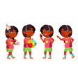 girl kindergarten kid poses set indian vector image vector image