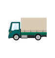green small covered truck isolated vector image