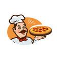 happy chef holding a pizza tray logo or label vector image vector image