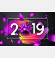 happy new year 2019 poster with bow colorful vector image vector image