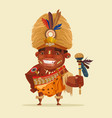happy smiling african voodoo shaman vector image