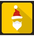 Hat and beard of Santa Claus icon flat style