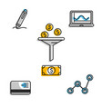 icons for business markegplace with money exchange vector image