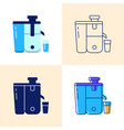 juicer icon set in flat and line styles vector image