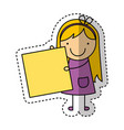little girl drawing isolated icon vector image