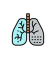 lung disease flat color line icon isolated vector image