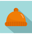 orange winter hat icon flat style vector image