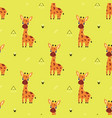 pattern with cartoon giraffe vector image vector image