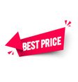 red arrow label with text best price vector image vector image