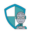 robot humanoid with shield isolated icon vector image vector image