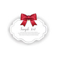 romantic wedding card template with ribbon vector image vector image