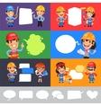 Set of a Speaking Cartoon Builders vector image vector image