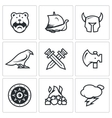 Set of Viking Icons Warrior Ship vector image vector image