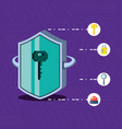 shield with set icons cyber security vector image vector image