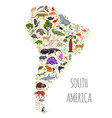 south america flora and fauna map flat elements vector image vector image