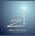 stylized christmas tree greetings on blue isolated vector image