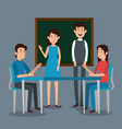 teacher with student characters vector image vector image