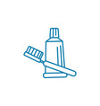 toothpaste brush linear icon concept toothpaste vector image