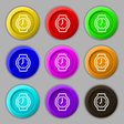 watches icon sign symbol on nine round colourful vector image vector image