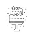 wedding cake with flowers line art icon vector image