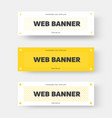 white and yellow horizontal web banner with black vector image vector image