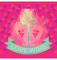 Wine tasting card grape sign and a colored glass vector image vector image