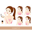 woman with step to use foundation and powder vector image vector image