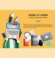 work at home concept with man vector image vector image