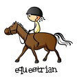 A young girl riding a horse vector image