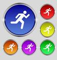 running man icon sign Round symbol on bright vector image