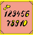 alphabet numbers hand-drawn doodle sketch vector image